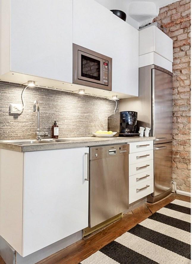 Peque o apartamento en suecia for Cocina apartamento pequeno